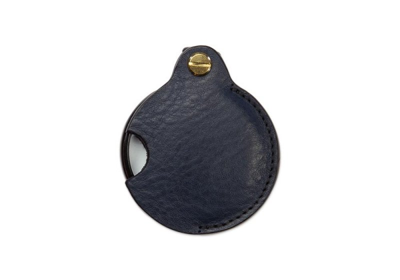 Pocket Magnifying Glass-Navy in Smooth Tumbled Leather