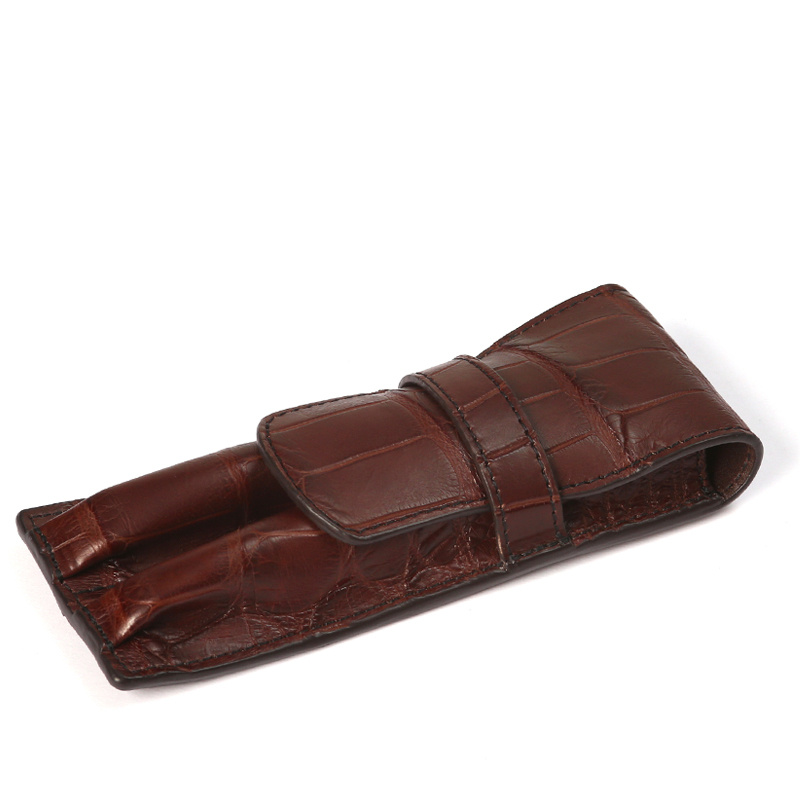 Double Fountain Pen Case in American Alligator