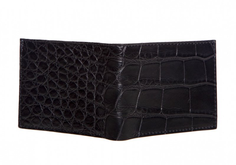 The Slim Wallet -Black - Gator in Smooth Tumbled Leather