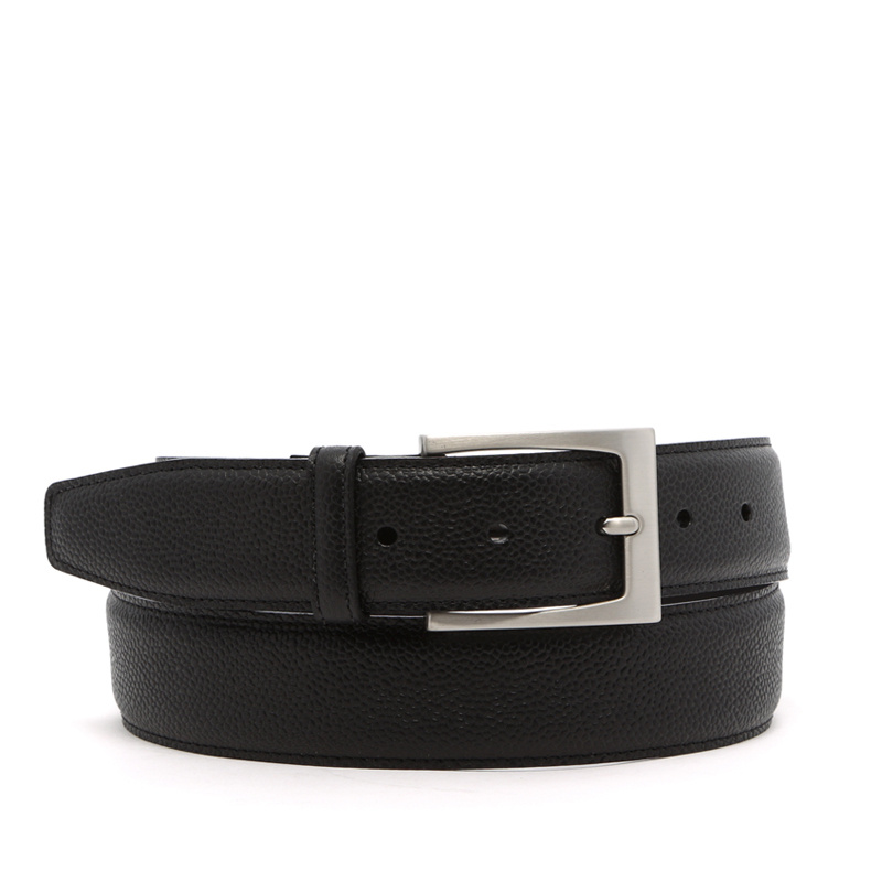 Scotch Grain Leather Belt Silver Hardware in hatch_grain