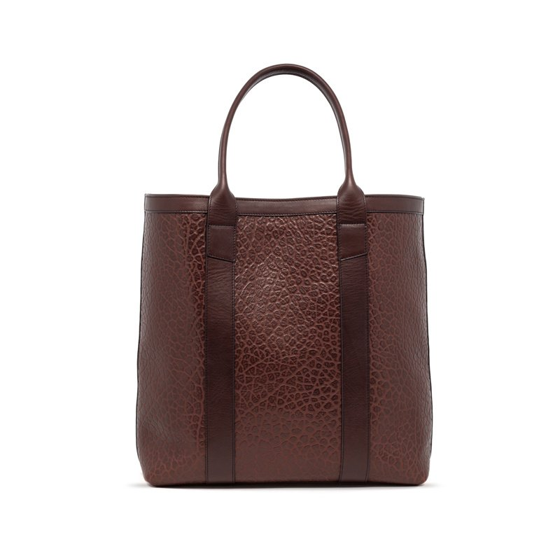 Tall Tote-Chocolate in Shrunken Grain Leather