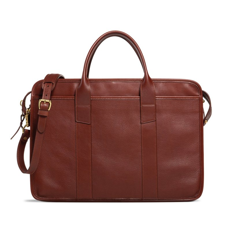 Bound Edge Zip-Top Briefcase  in Smooth Tumbled Leather
