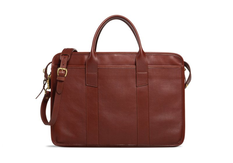 Bound Edge Zip-Top Briefcase -Chestnut in