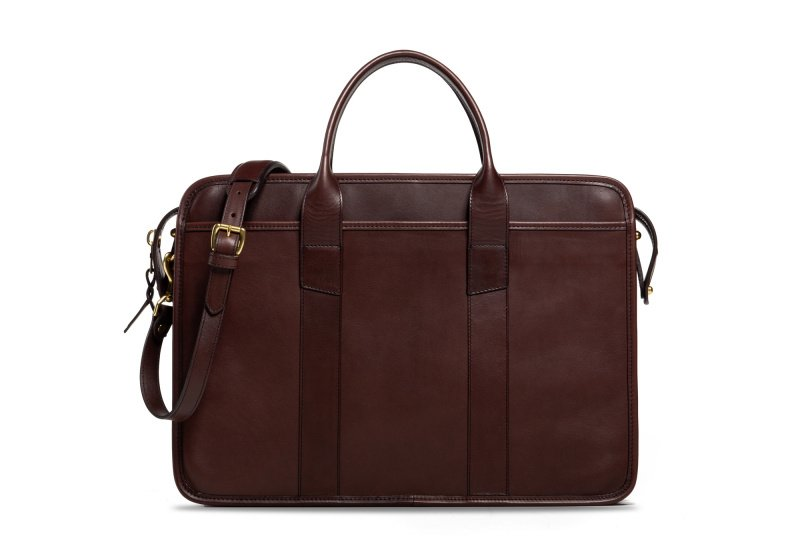 Bound Edge Zip-Top Briefcase -Chocolate in