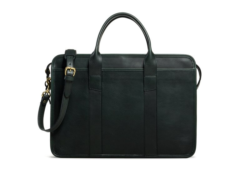 Bound Edge Zip-Top Briefcase -Green in