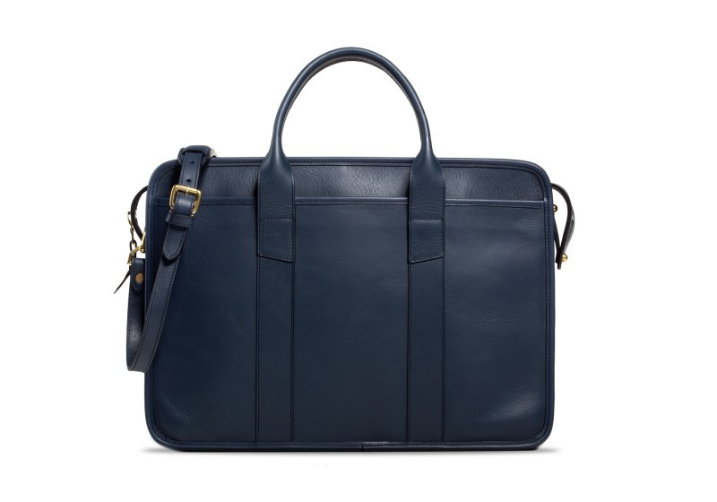 Bound Edge Zip-Top Briefcase -Navy in