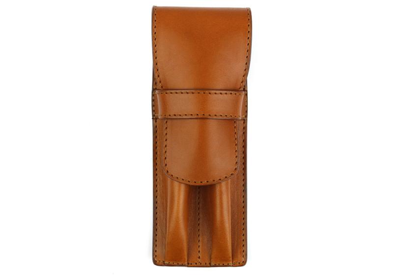 Double Pen Case-Cognac in
