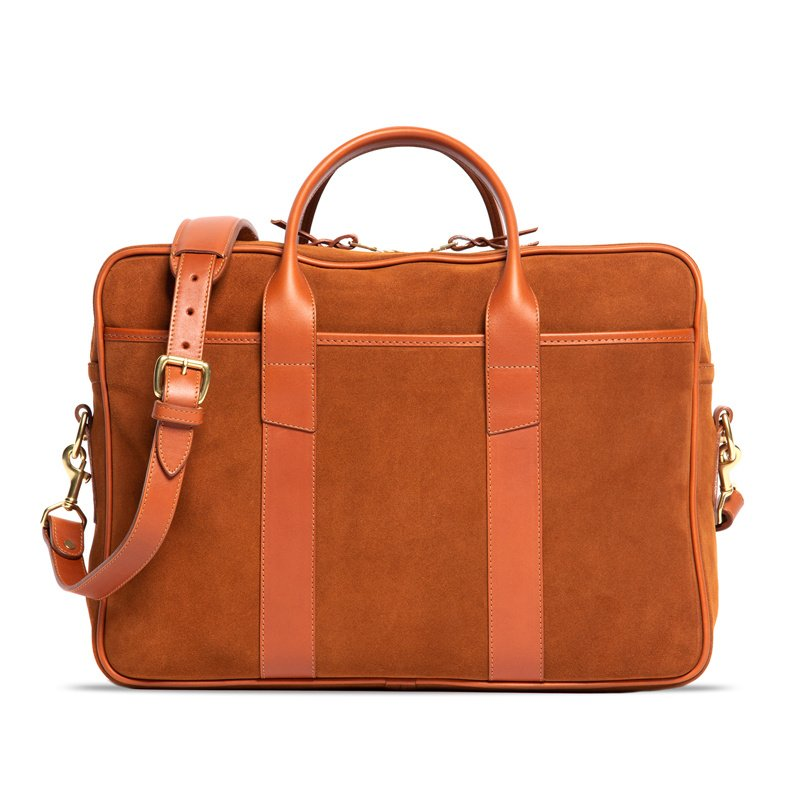 Suede Commuter Briefcase-Tobacco in Suede