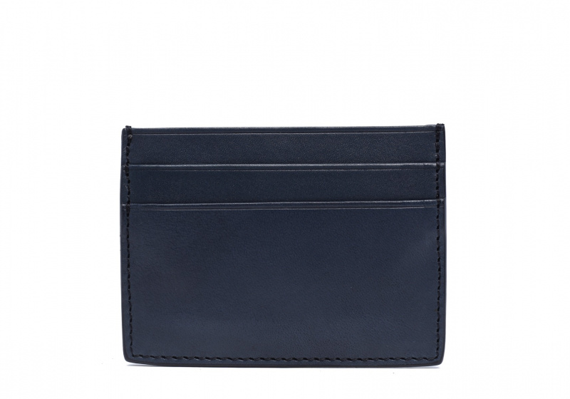Double Mini Card Wallet-Navy in Smooth Tumbled Leather