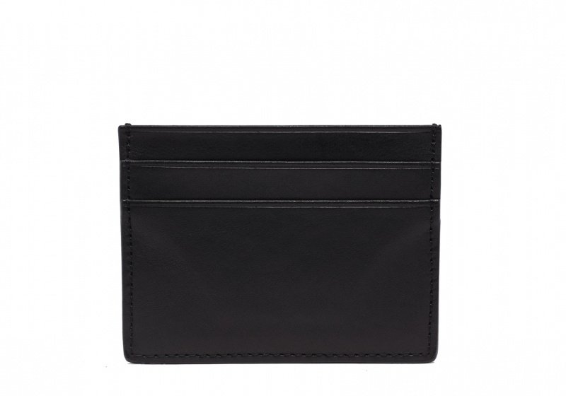 Double Mini Card Wallet-Black in Smooth Tumbled Leather
