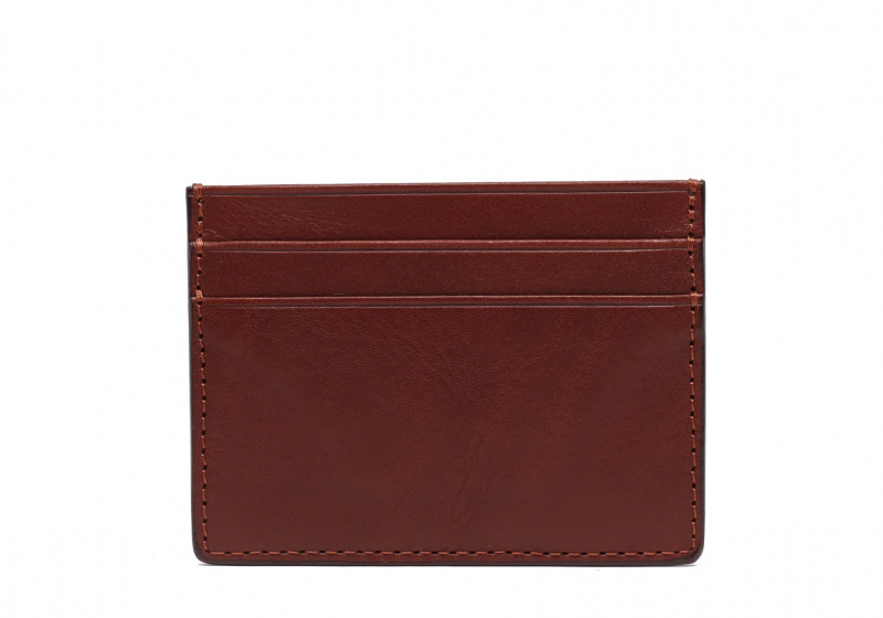 Double Mini Card Wallet-Chestnut in Smooth Tumbled Leather