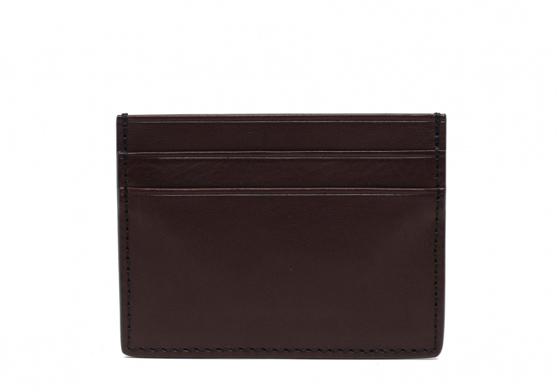 Double Mini Card Wallet-Chocolate in Smooth Tumbled Leather