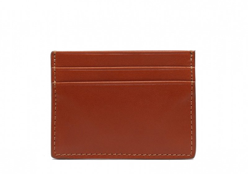 Double Mini Card Wallet-Cognac in Smooth Tumbled Leather