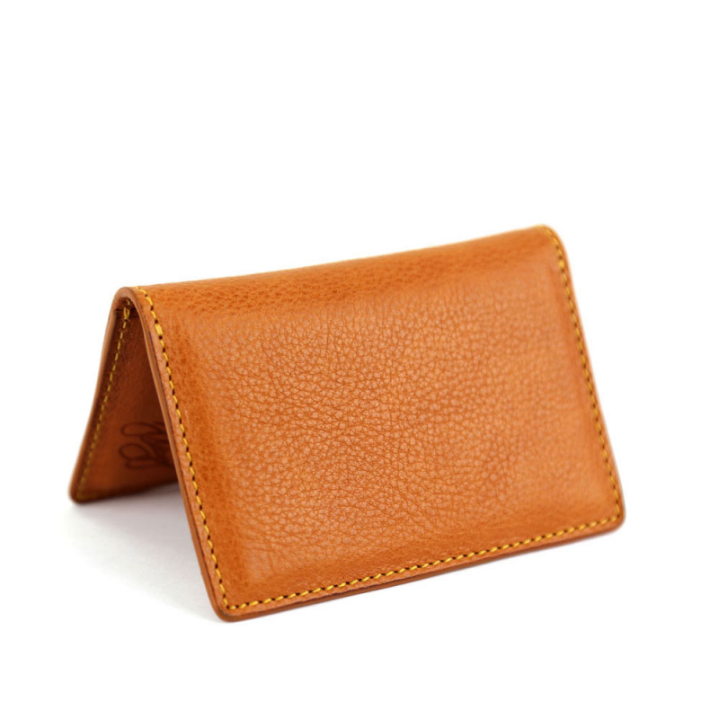 Folding Card Case in Smooth Tumbled Leather