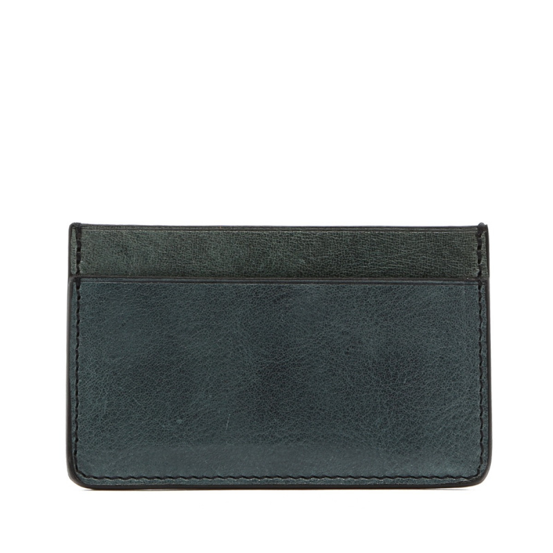 Mini Card Wallet - Pine Green - Glossy Tumbled Leather  in