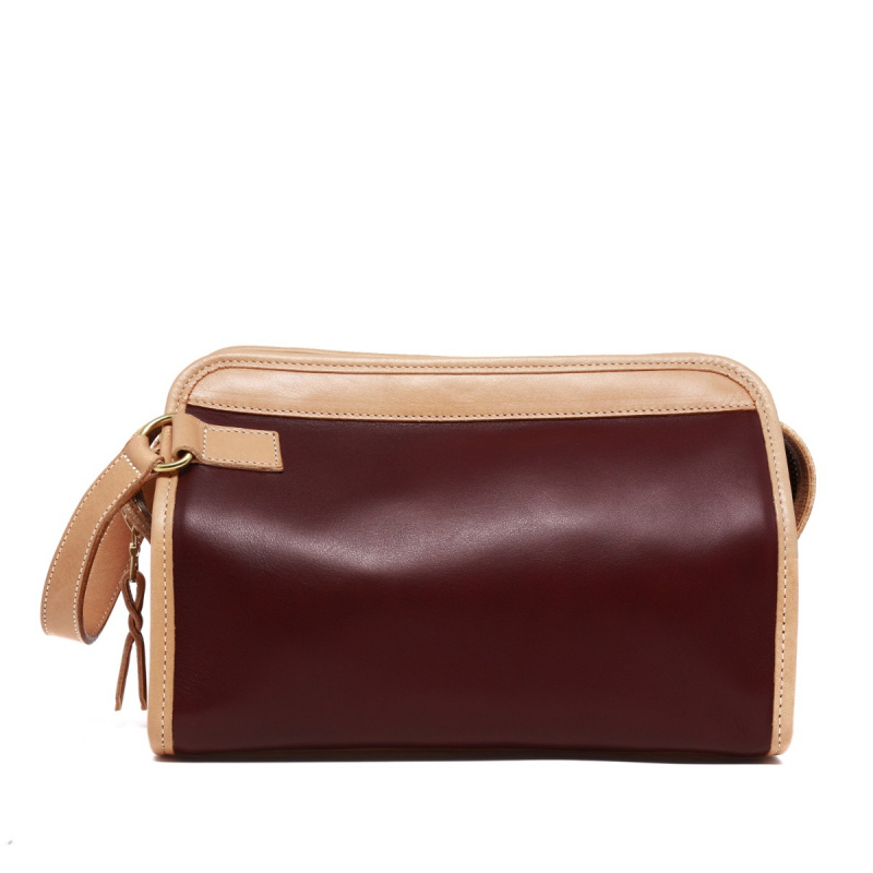 Large Travel Kit - Olive/Burgundy/Natural  in Smooth Tumbled Leather