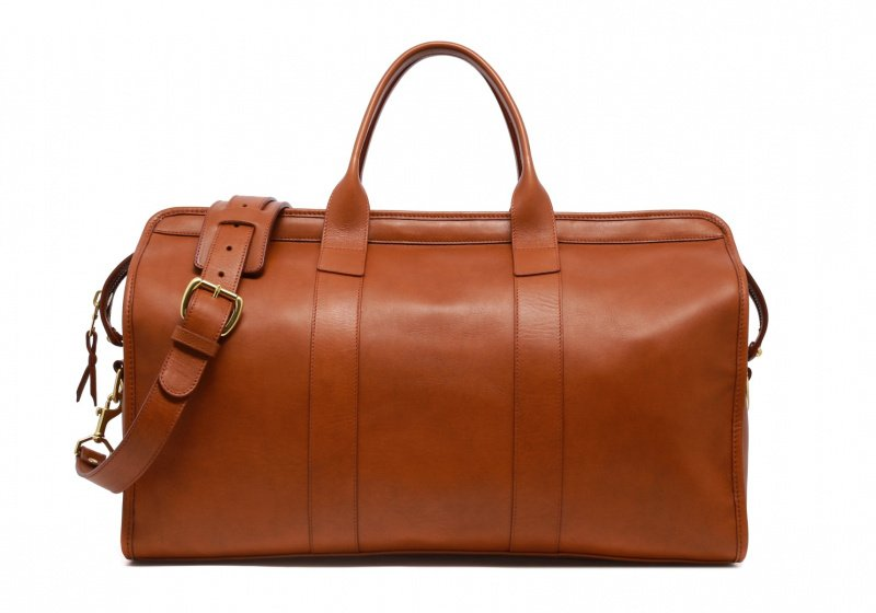 Signature Travel Duffle-Sunbrella Lining with Pocket-Cognac in