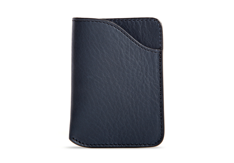 Card Wallet-Navy in Smooth Tumbled Leather