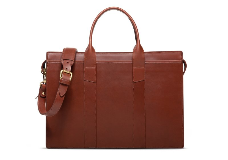 Zip-Top Briefcase-Chestnut-Single in