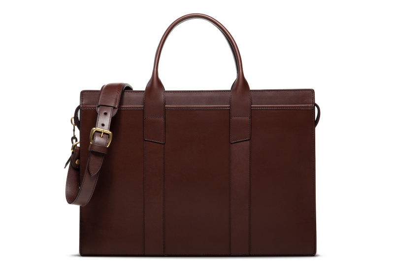 Zip-Top Briefcase-Chocolate-Single in Harness Belting Leather