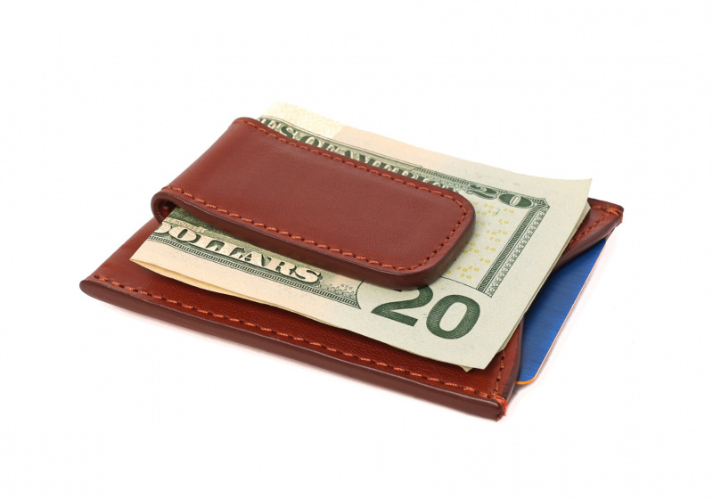 Money Clip Wallet-Chestnut in Smooth Tumbled Leather
