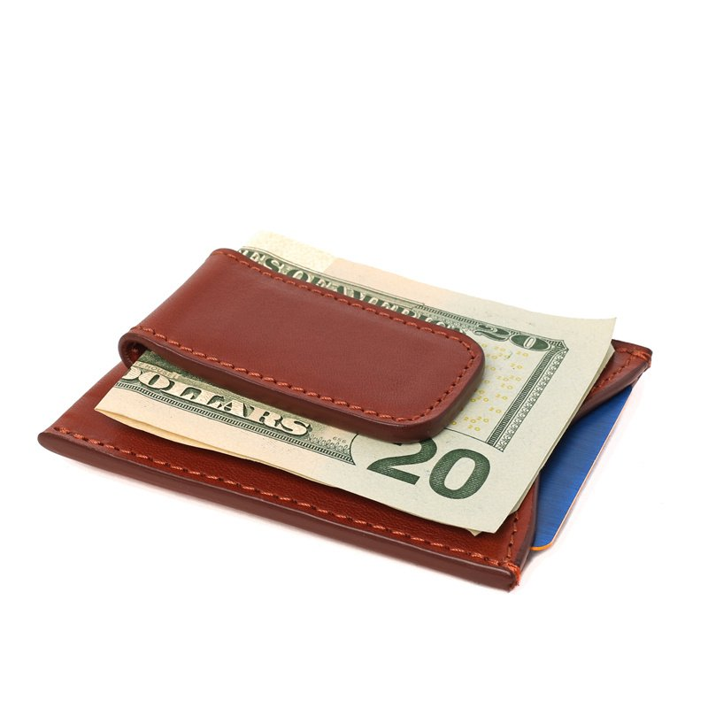 Money Clip Wallet in Smooth Tumbled Leather