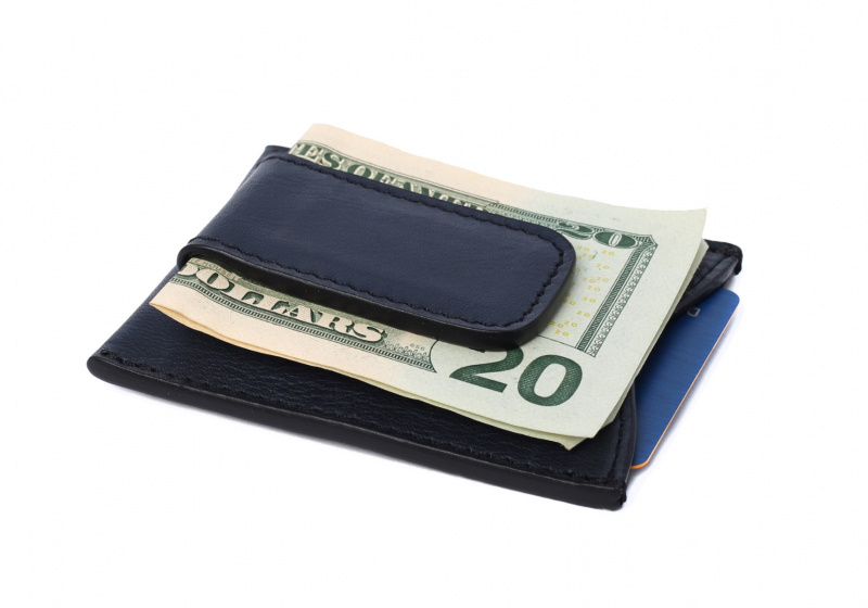 Money Clip Wallet-Navy in Smooth Tumbled Leather