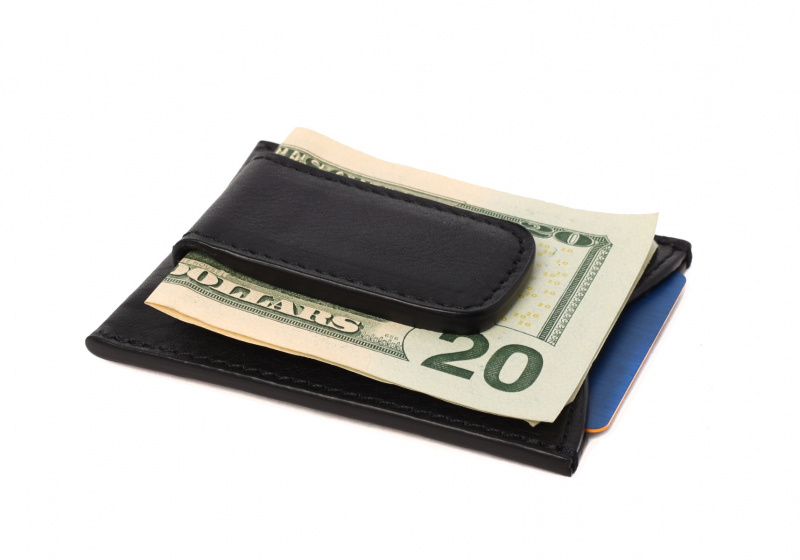 Money Clip Wallet-Black in Smooth Tumbled Leather