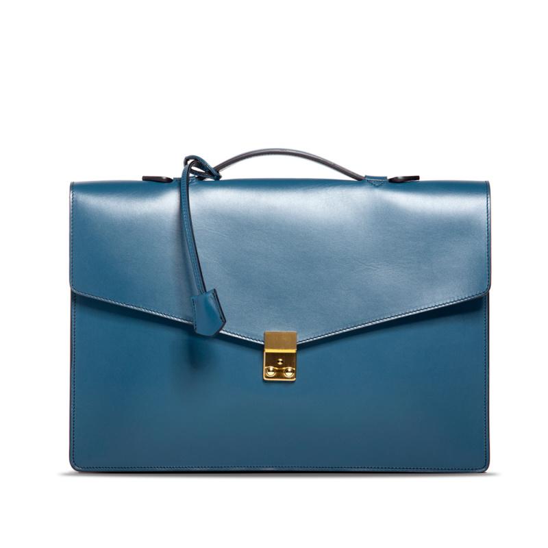 Port Briefcase - Stellar Blue  in Harness Belting Leather