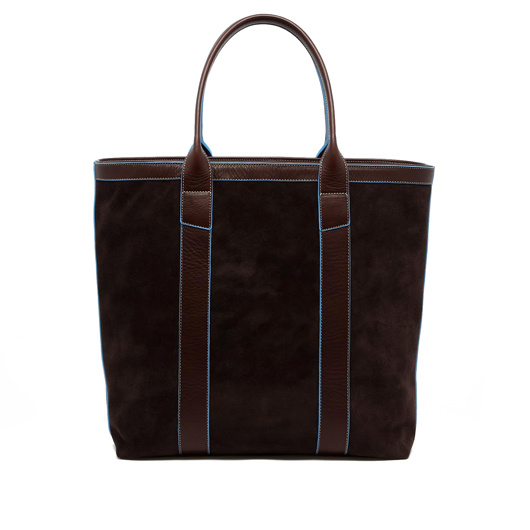 Tall Tote - Chocolate / Baby Blue - Suede - Zipper Top in