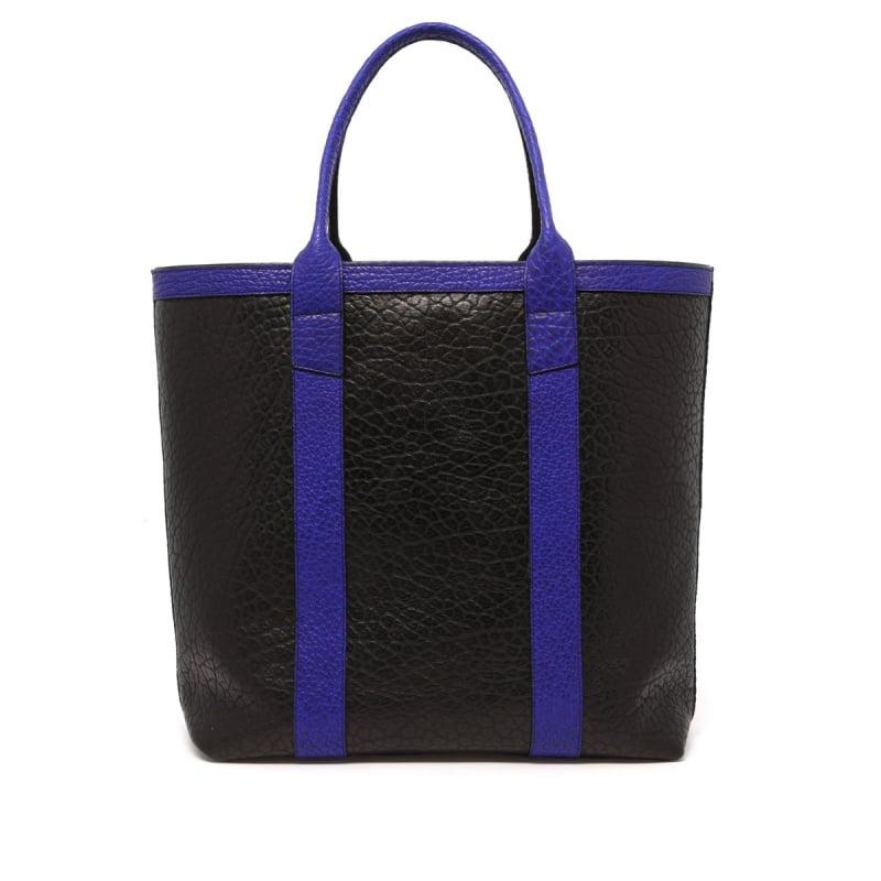 Tall Tote - Black/Vibrant Blue - Shrunken Grain Leather in