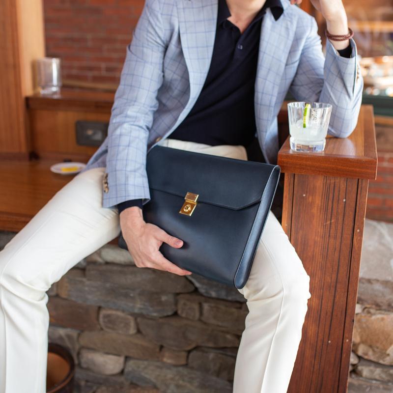 Locking Wrap Portfolio in Harness Belting Leather