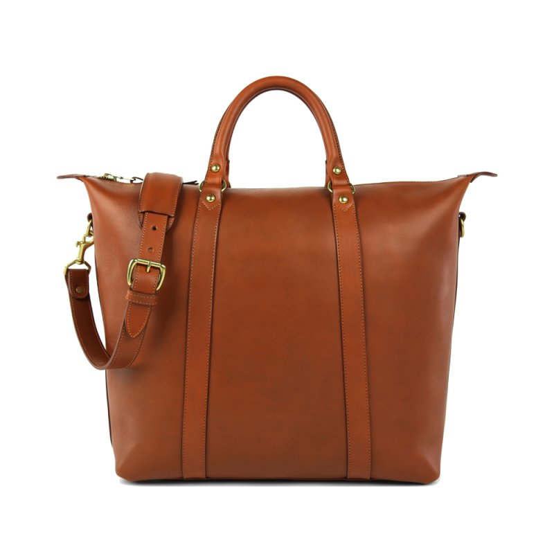 Hampton Zipper Tote in Smooth Tumbled Leather
