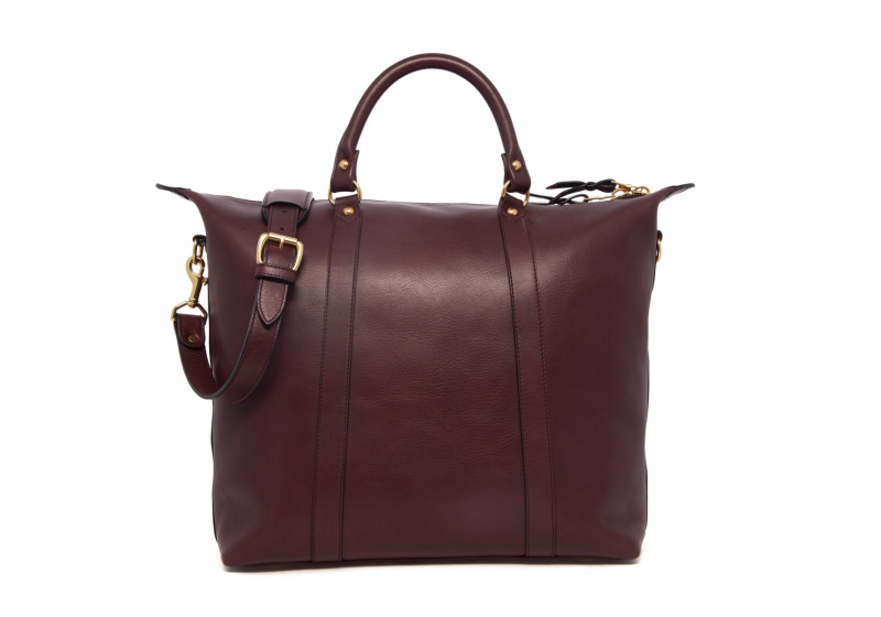 Hampton Zipper Tote-Burgundy in Smooth Tumbled Leather