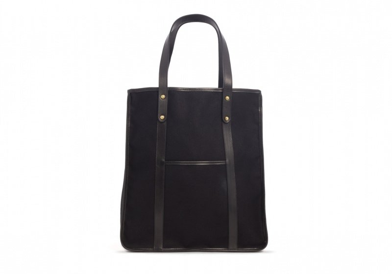 The Market Tote -Black in Smooth Tumbled Leather