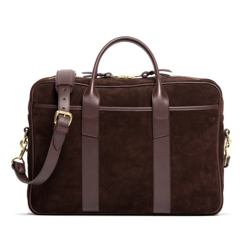 Suede Commuter Briefcase-Chocolate in Suede