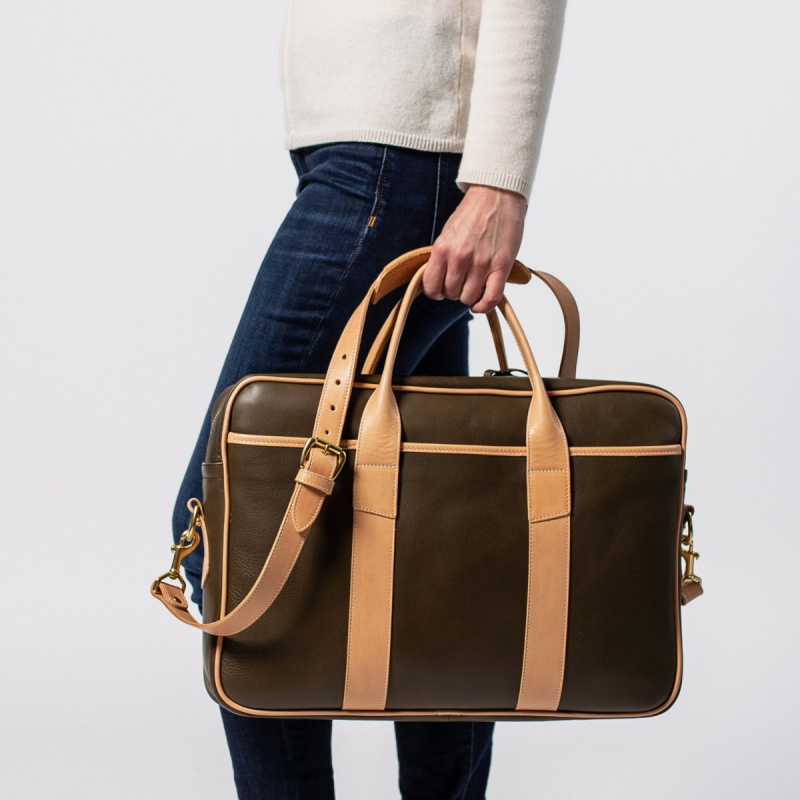 Commuter Briefcase - Olive/Natural in Smooth Tumbled Leather