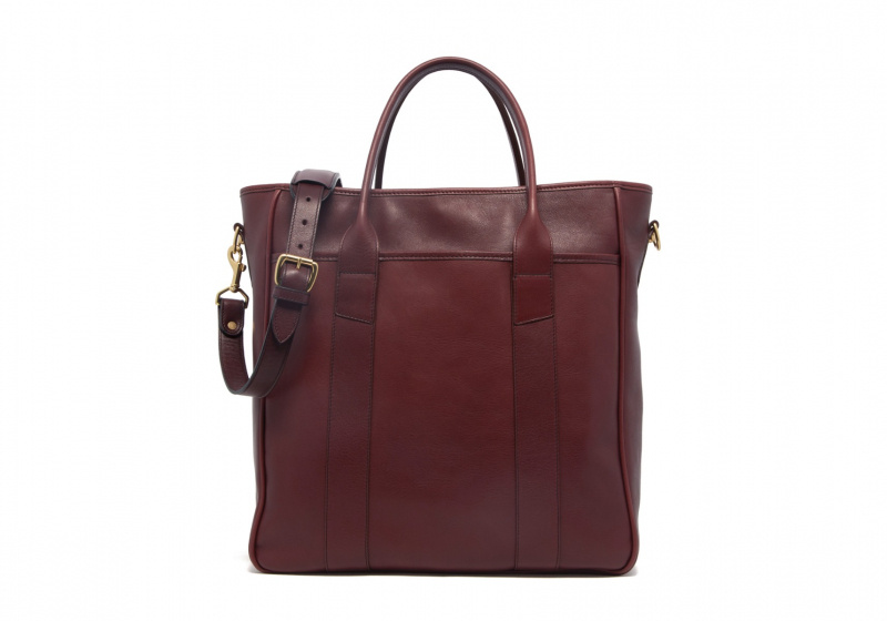 Commuter Tote-Burgundy in Smooth Tumbled Leather