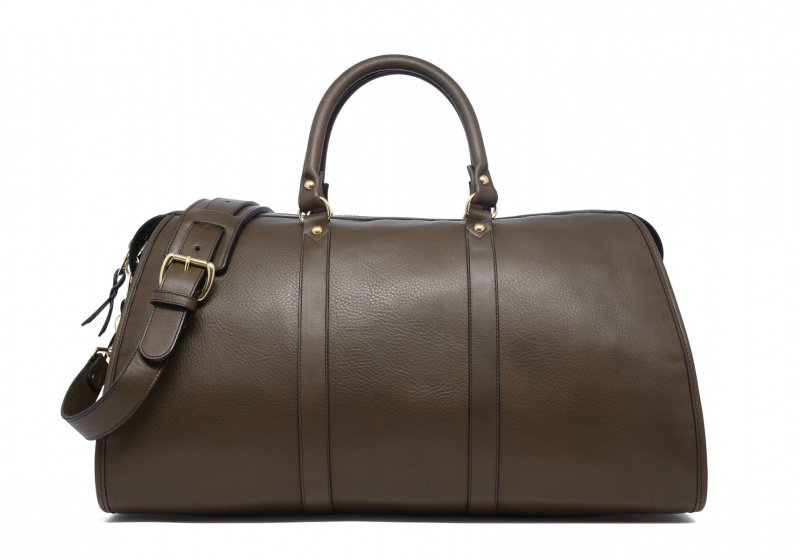 Hampton Travel Duffle -Olive in Smooth Tumbled Leather
