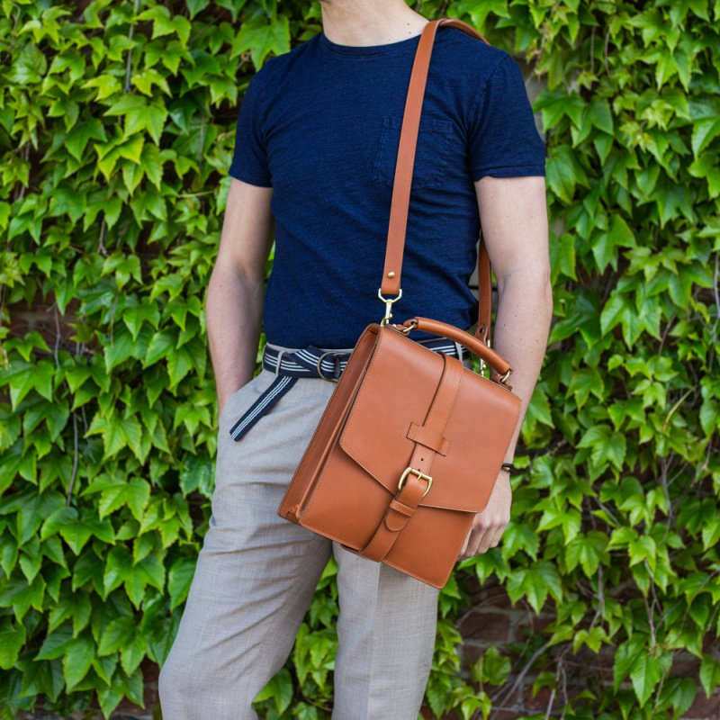 Buckle Messenger Bag in Harness Belting Leather