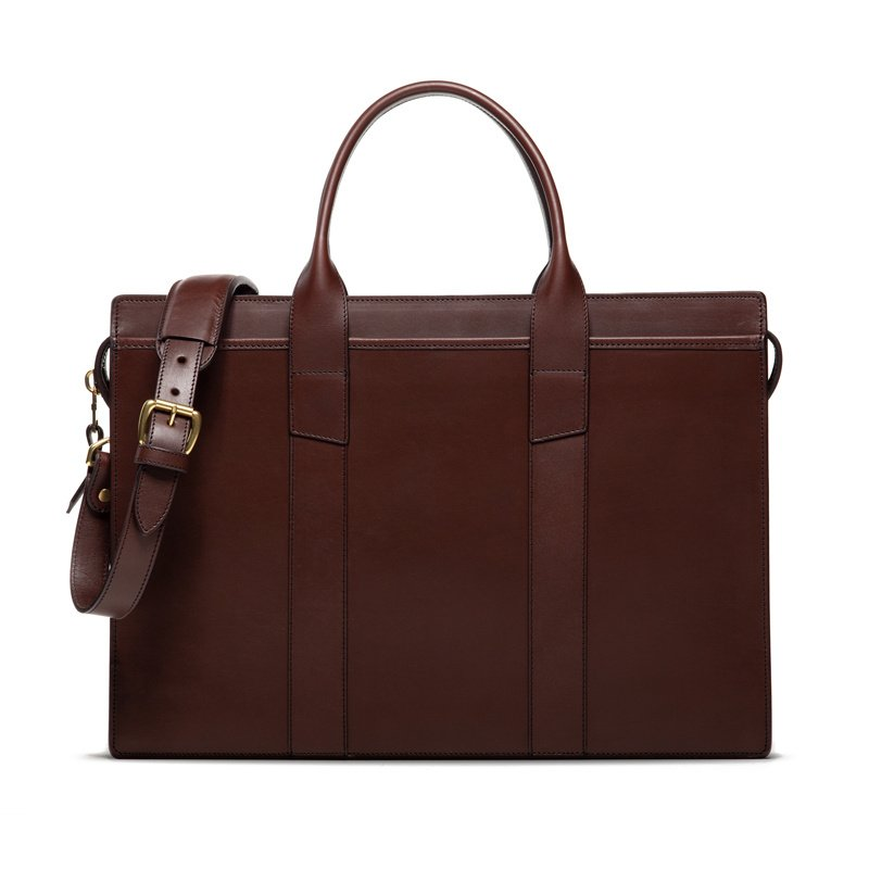 Zip-Top Briefcase in Harness Belting Leather