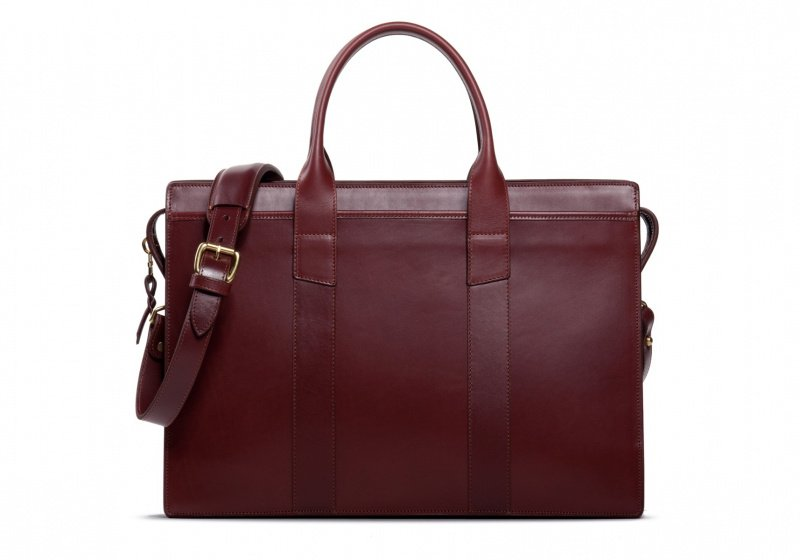 Zip-Top Briefcase-Burgundy-Double in Harness Belting Leather