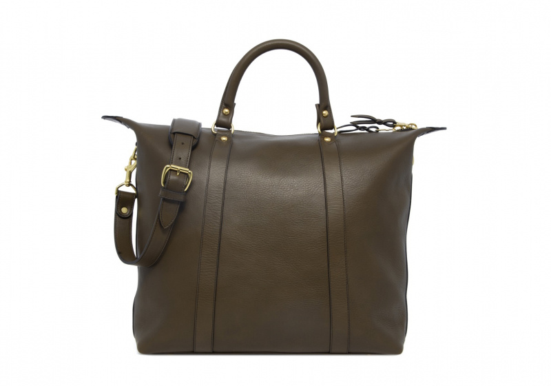 Hampton Zipper Tote-Olive in Smooth Tumbled Leather