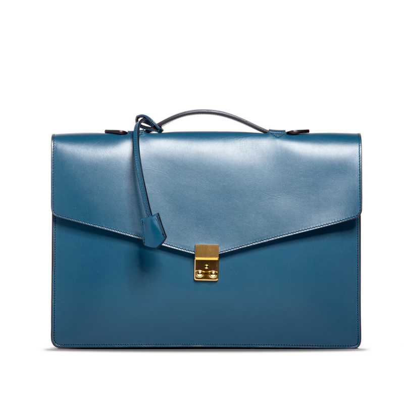 Port Briefcase - Stellar Blue  in Harness Belting Leather