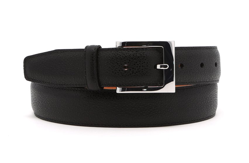 Black Leather Belt Silver Hardware Frank Clegg