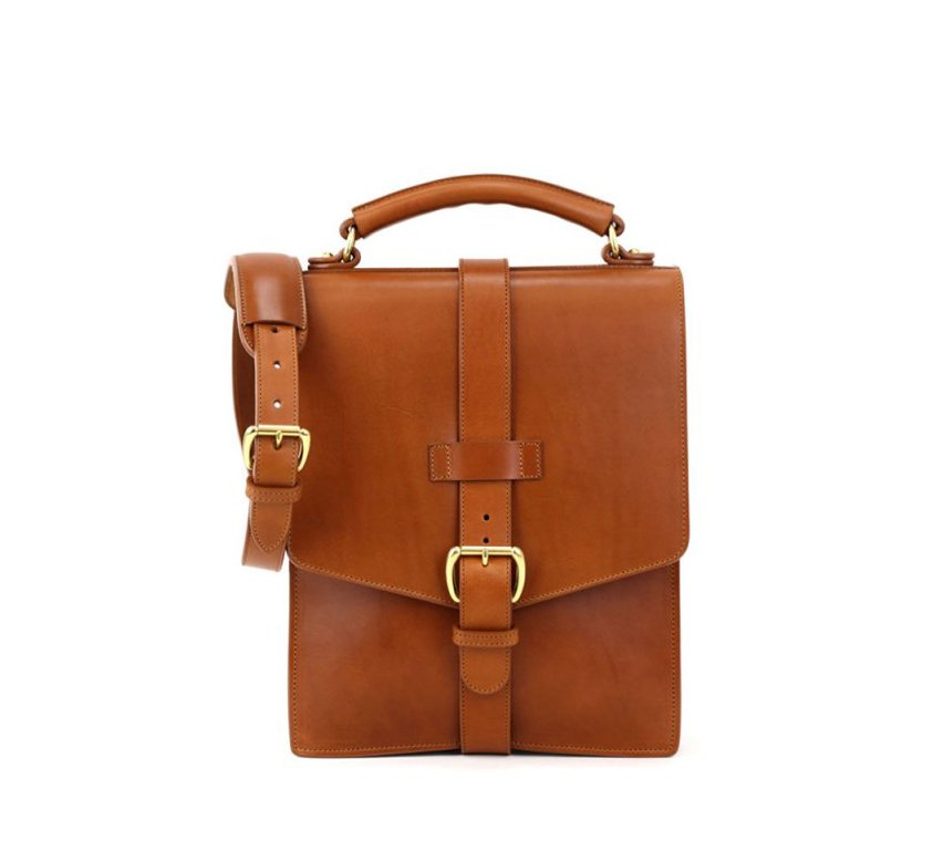 Buckled Leather Messenger Bag