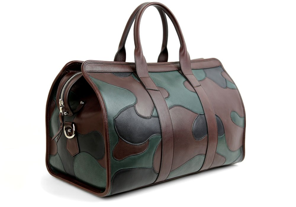 leather camo travel duffle bag handmade leather travel bags weekender bags frank clegg. Black Bedroom Furniture Sets. Home Design Ideas