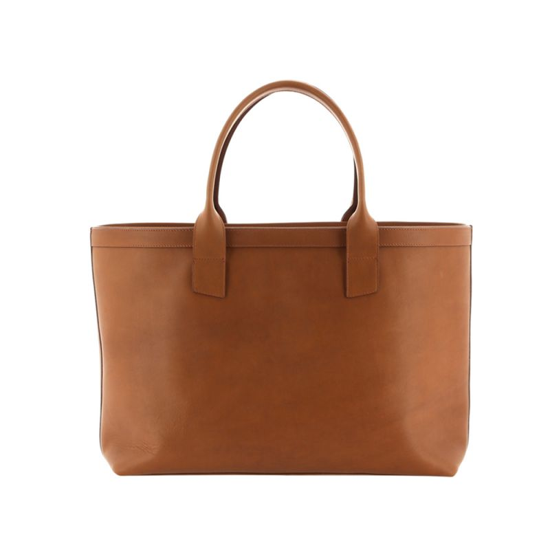 Large Working Tote - Light Tabacoo/Striped Interior - Smooth Tumbled Leather