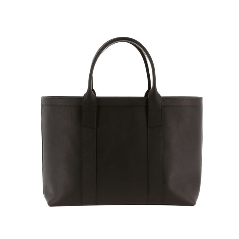 Large Working Tote - Matte Black/Grey Interior - Smooth Tumbled Leather