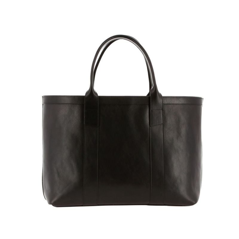 Large Working Tote - Black/Regimental Interior - Smooth Tumbled Leather